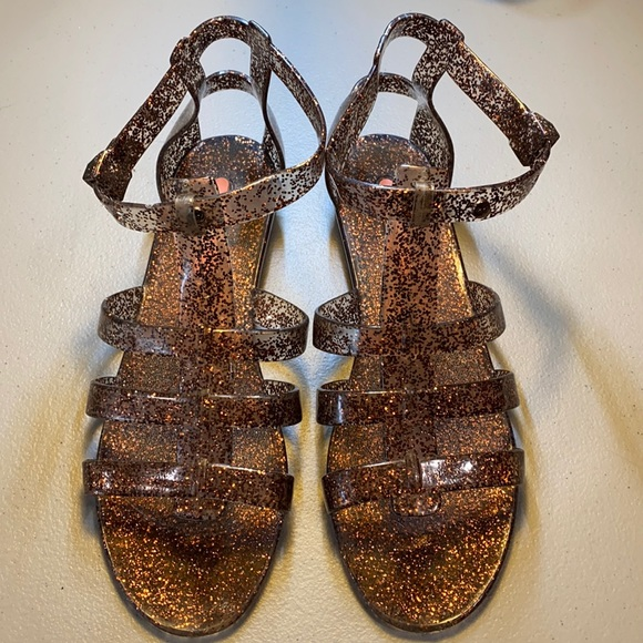 Roxy's glitter brown jelly cutout sandals size 7.5